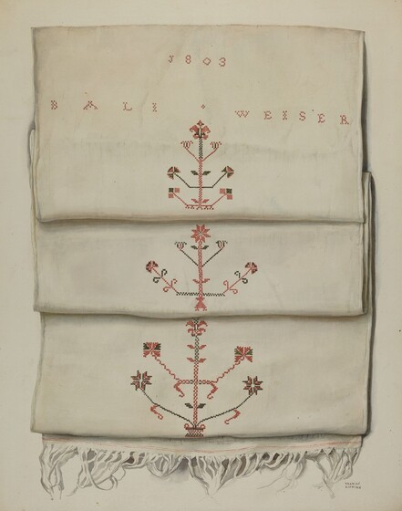 Frances Lichten, Embroidered Towel, 1935 - 1942