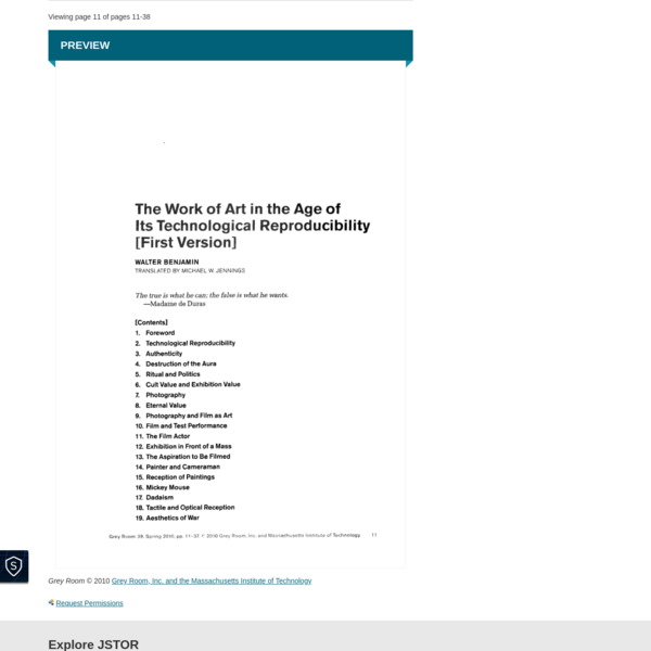 The Work of Art in the Age of Its Technological Reproducibility [First Version] on JSTOR