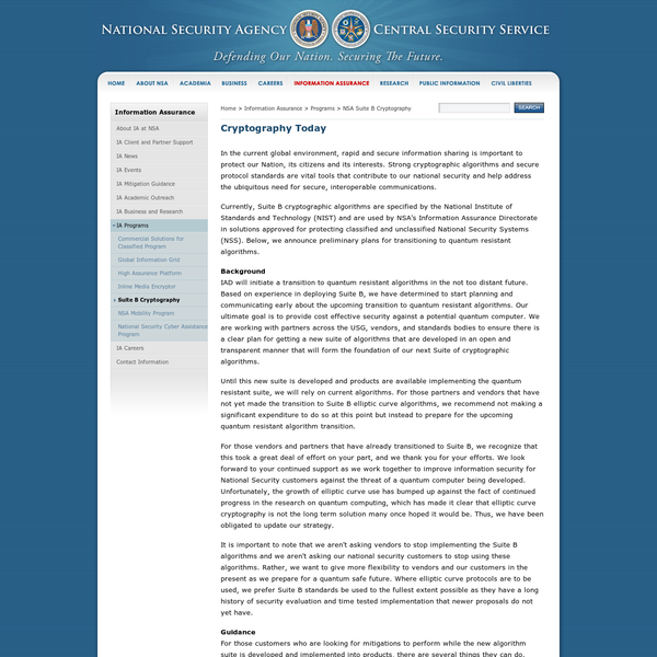 In the current global environment, rapid and secure information sharing is important to protect our Nation, its citizens and its interests. Strong cryptographic algorithms and secure protocol standards are vital tools that contribute to our national security and help address the ubiquitous need for secure, interoperable communications.