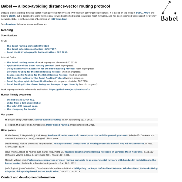 Babel - a loop-avoiding distance-vector routing protocol