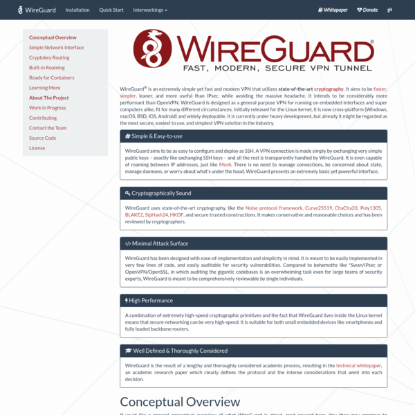 WireGuard: fast, modern, secure VPN tunnel