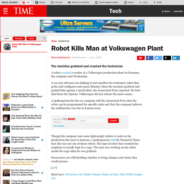 A robot crushed a worker at a Volkswagen production plant in Germany, the company said Wednesday. A 22-year-old man was helping to put together the stationary robot that grabs and configures auto parts Monday when the machine grabbed and pushed him against a metal plate, the Associated Press reported.