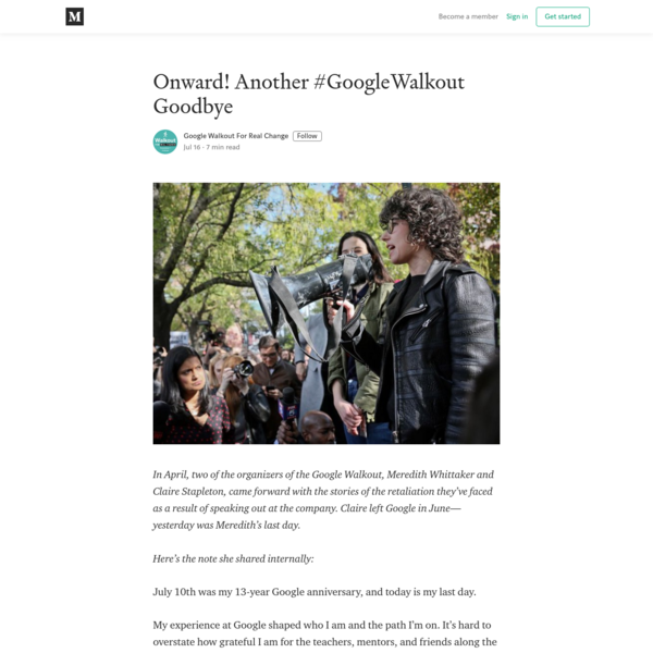 Onward! Another #GoogleWalkout Goodbye - Google Walkout For Real Change - Medium