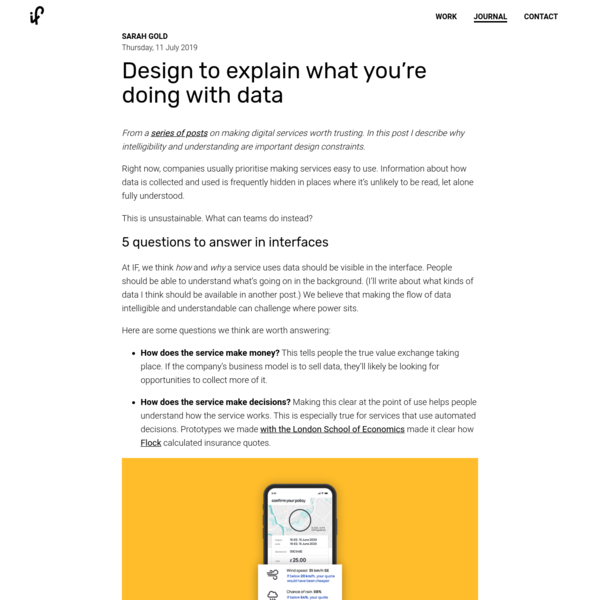 Design to explain what you're doing with data - IF