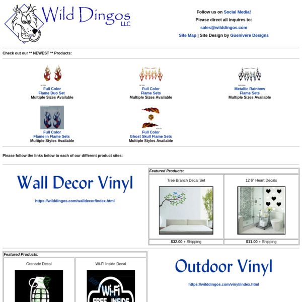 Wild Dingos LLC - Specializing in vinyl decals, web design, engraving, novelties, toys and more . . .