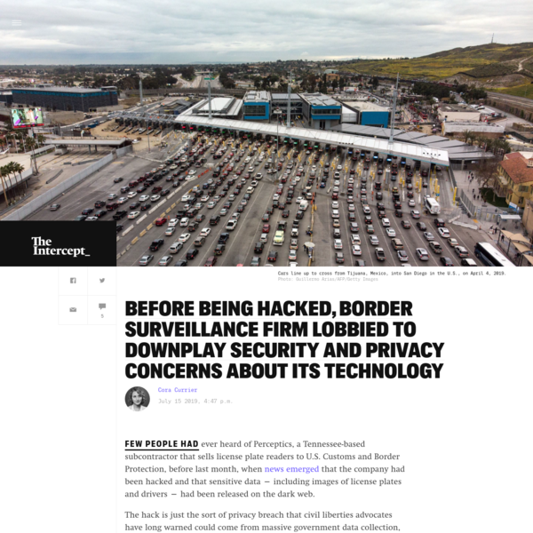Before Being Hacked, Border Surveillance Firm Lobbied to Downplay Security and Privacy Concerns About Its Technology