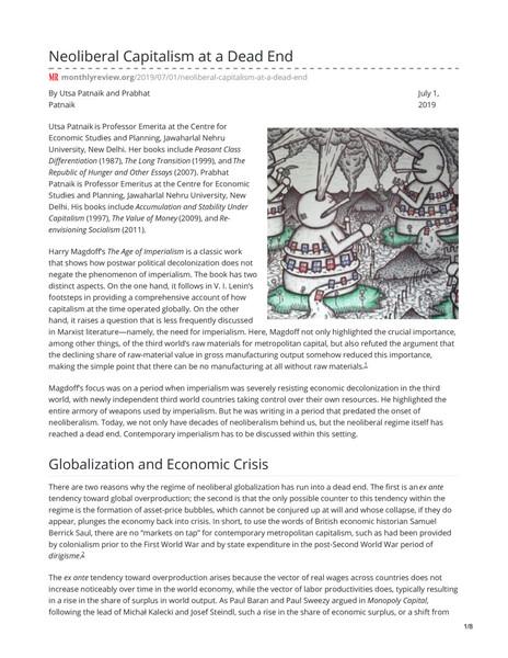 Neoliberal Capitalism at a Dead End - Utsa Patnaik and Prabhat Patnaik