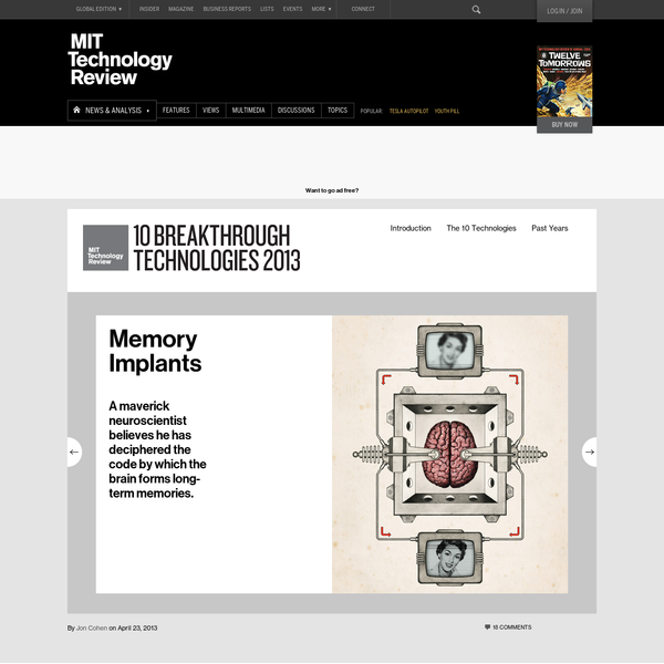 Theodore Berger, a biomedical engineer and neuroscientist at the University of Southern California in Los Angeles, envisions a day in the not too distant future when a patient with severe memory loss can get help from an electronic implant. In people whose brains have suffered damage from Alzheimer's, stroke, or injury, disrupted neuronal networks often prevent long-term memories from forming.