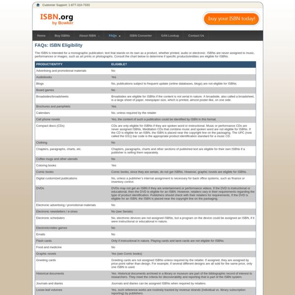 FAQs: ISBN eligibility