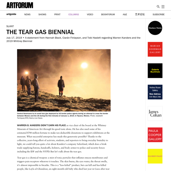 The Tear Gas Biennial - Artforum International