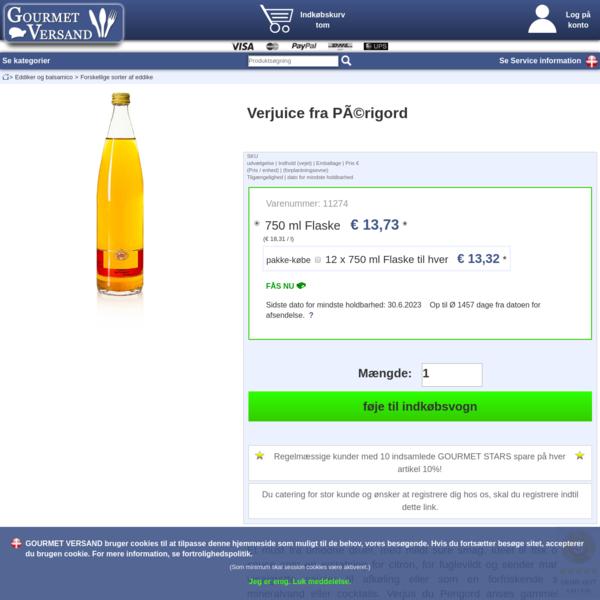 Verjuice fra Périgord, 750 ml, Flaske