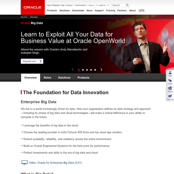 Learn how Oracle Big Data can help deliver a competitive strategy on a unified architecture with data liquidity, tailored scalability, security and privacy.