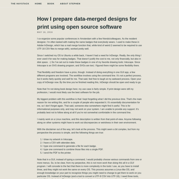 How I prepare data-merged designs for print using open source software