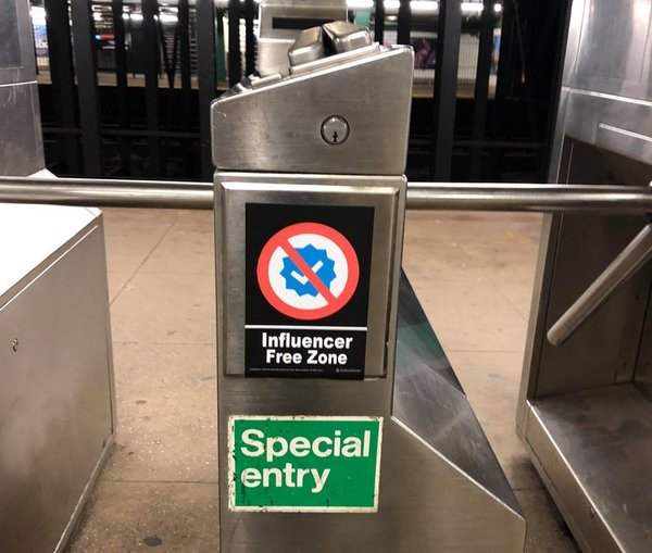 """Influencer Free Zone"" Stickers in NYC Subway Part of Mock Ad Campaign 