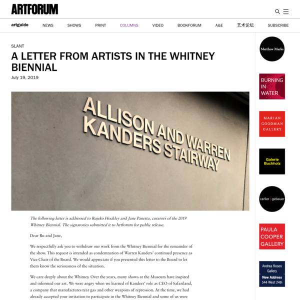 A Letter from Artists in the Whitney Biennial