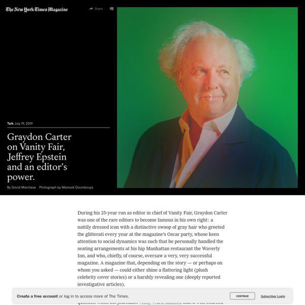 Graydon Carter on Vanity Fair, Jeffrey Epstein and an Editor's Power - The New York Times