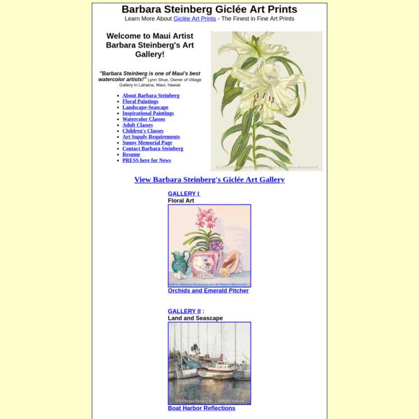 Barbara Steinberg Art Gallery, Maui Hawaii Prints, Hawaiian Art Gifts