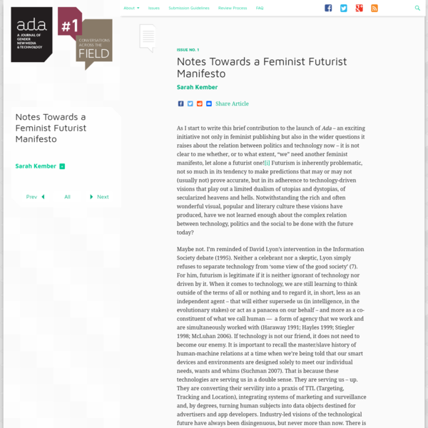 Notes Towards a Feminist Futurist Manifesto