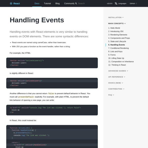 Handling Events - React