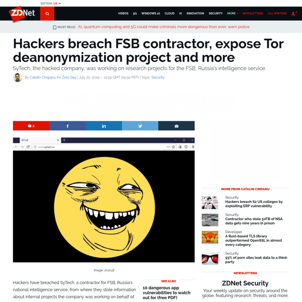Hackers breach FSB contractor, expose Tor deanonymization project | ZDNet
