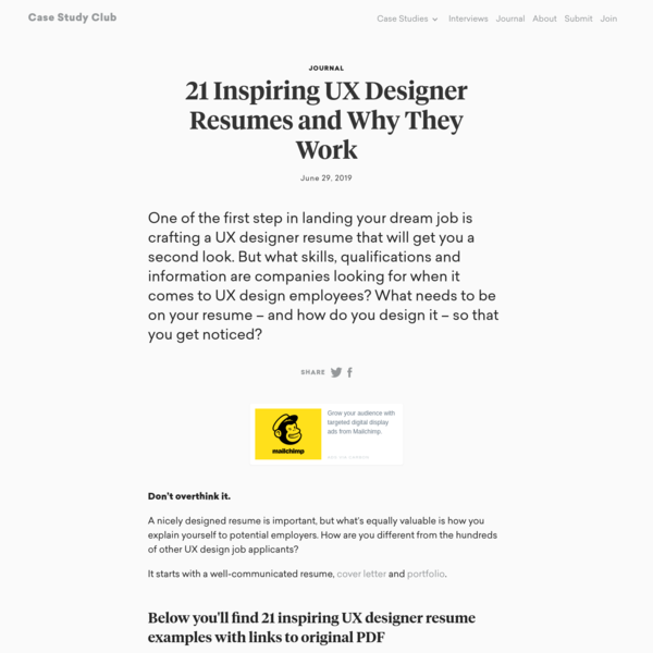 Journal - 21 Inspiring UX Designer Resumes and Why They Work