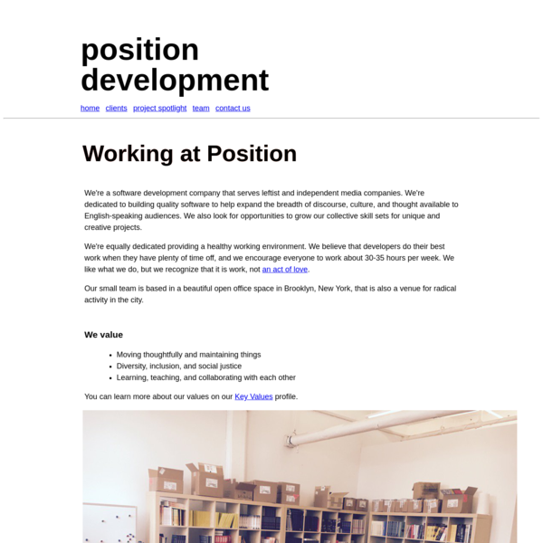 position development: Working at Position