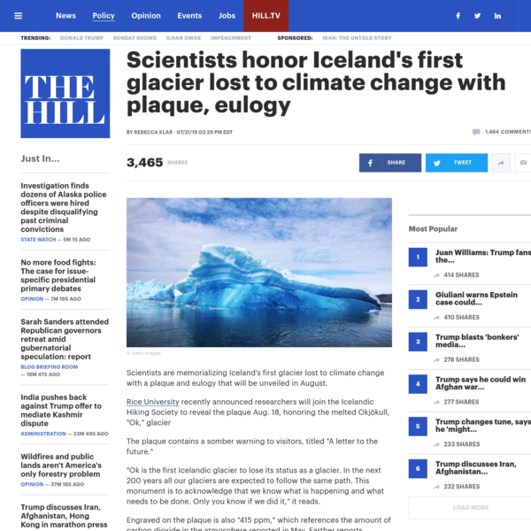 Scientists honor Iceland's first glacier lost to climate change with plaque, eulogy   TheHill