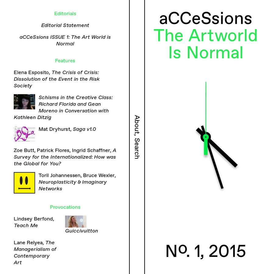 aCCeSsions is the online journal of the Center for Curatorial Studies, Bard College, New York. aCCeSsions takes curating as a basis for expanding and transforming the disciplinary limits of existing discourses, for engaging with knowledge and practices outside of art and exhibition-making, and for the transdisciplinary investigation of what curatorial praxis could be.