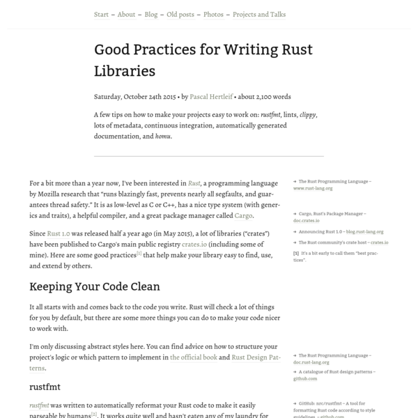 Good Practices for Writing Rust Libraries