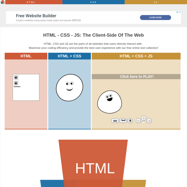 HTML CSS JavaScript - Tools and Resources