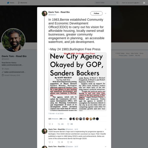 Davis Tom - Read Bio on Twitter