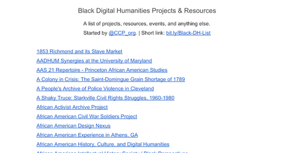 Black Digital Humanities Projects & Resources