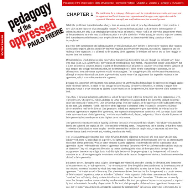 Pedagogy of the Oppressed by Paulo Freire | Chapter 1