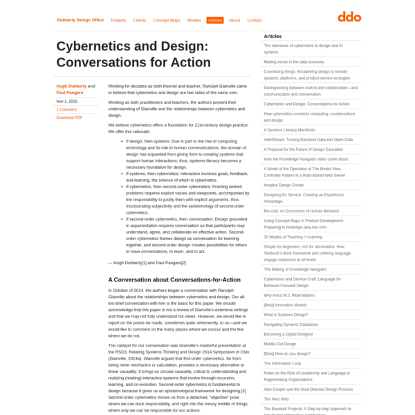 Cybernetics and Design: Conversations for Action