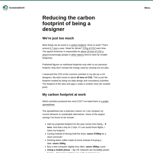 Reducing the carbon footprint of being a designer