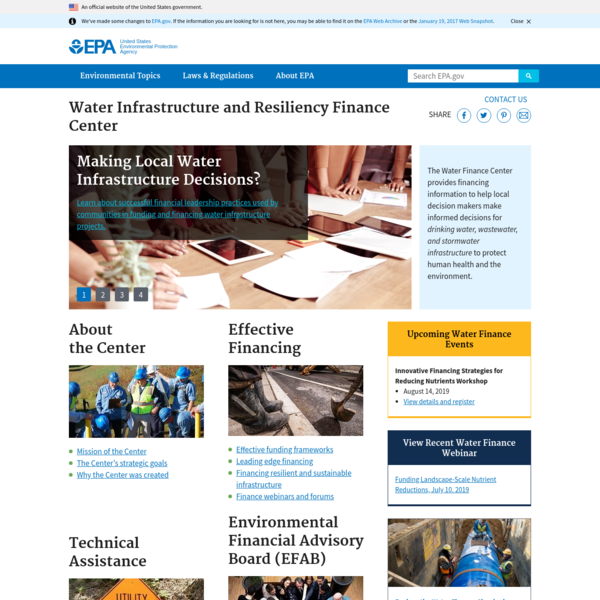 Water Infrastructure and Resiliency Finance Center | US EPA