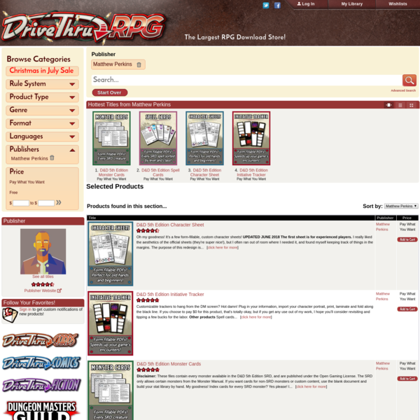 DriveThruRPG.com - Matthew Perkins - The Largest RPG Download Store!