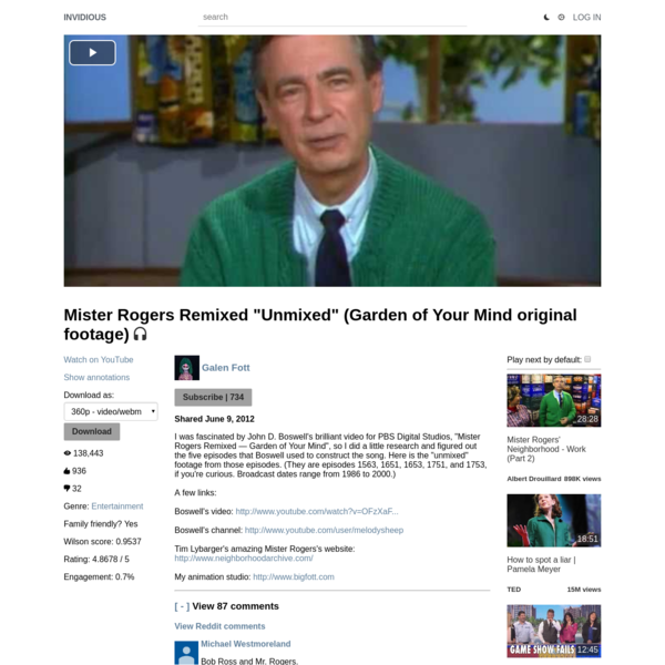 "Mister Rogers Remixed ""Unmixed"" (Garden of Your Mind original footage)"