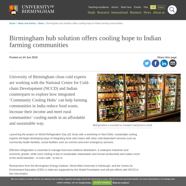 Birmingham hub solution offers cooling hope to Indian farming communities
