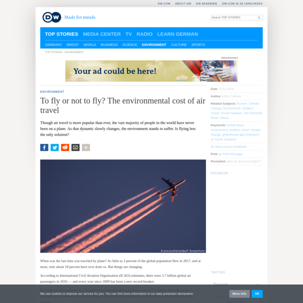 To fly or not to fly? The environmental cost of air travel   DW   10.01.2018