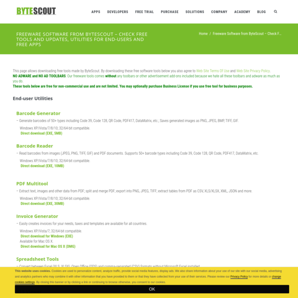Freeware Software from ByteScout - Check Free Tools and Updates, Utilities for End-Users and Free Apps