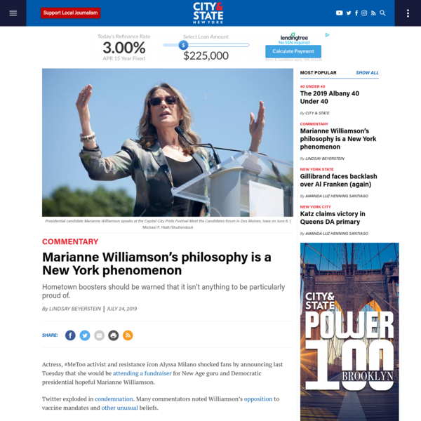 Marianne Williamson's philosophy is a New York phenomenon