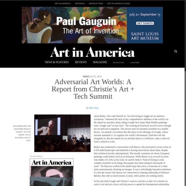 Adversarial Art Worlds: A Report from Christie's Art + Tech Summit
