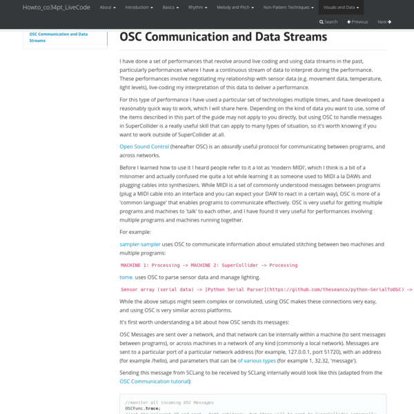 OSC Communication and Data Streams