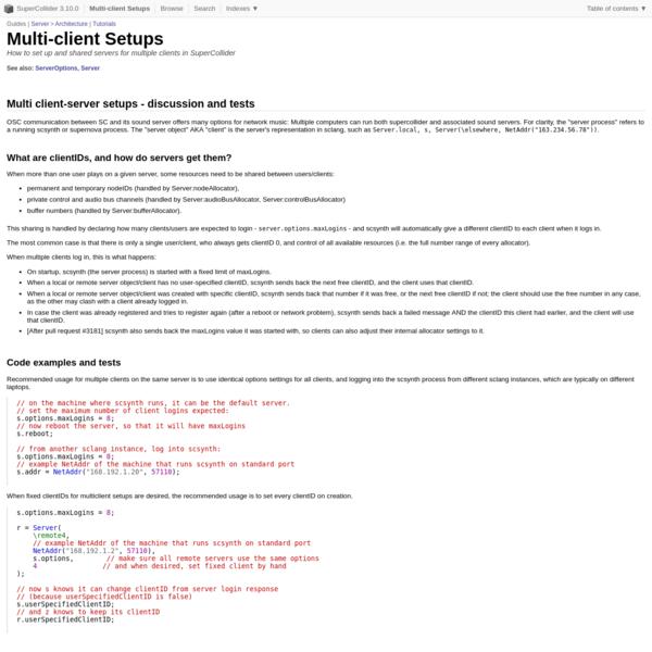 Multi-client Setups