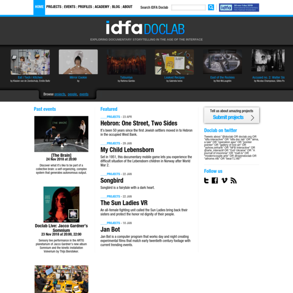IDFA DocLab | The official new media program of IDFA, showcasing new forms of documentary storytelling, digital technology a...