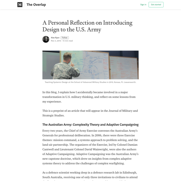 A Personal Reflection on Introducing Design to the U.S. Army