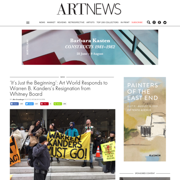 'It's Just the Beginning': Art World Responds to Warren B. Kanders's Resignation from Whitney Board -