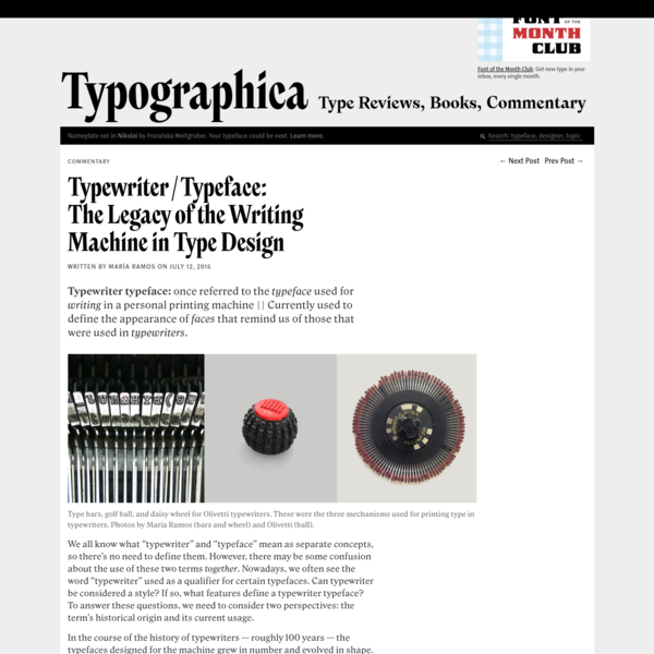 Typewriter/Typeface: The Legacy of the Writing Machine in Type Design
