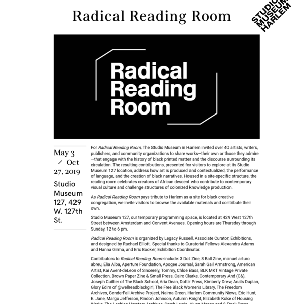 Radical Reading Room (Legacy Russell)